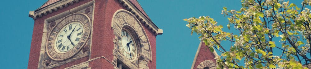 View of the clocktower at Amherst Town Hall with blue skies and tree with green leaves.