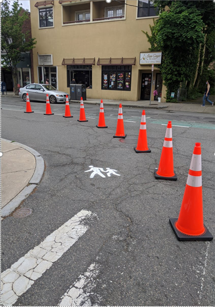 Shared curbs pilot in Union - check out that stencil work!