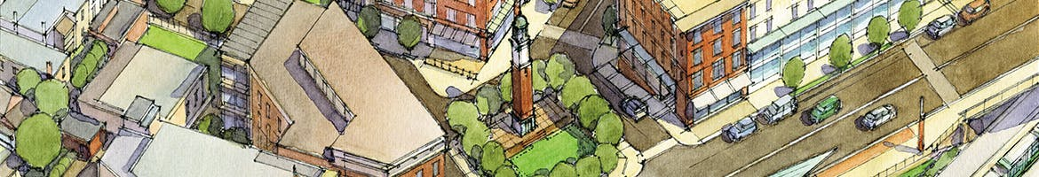 Rendering of Gilman Square from the Station Area Plan (2014).