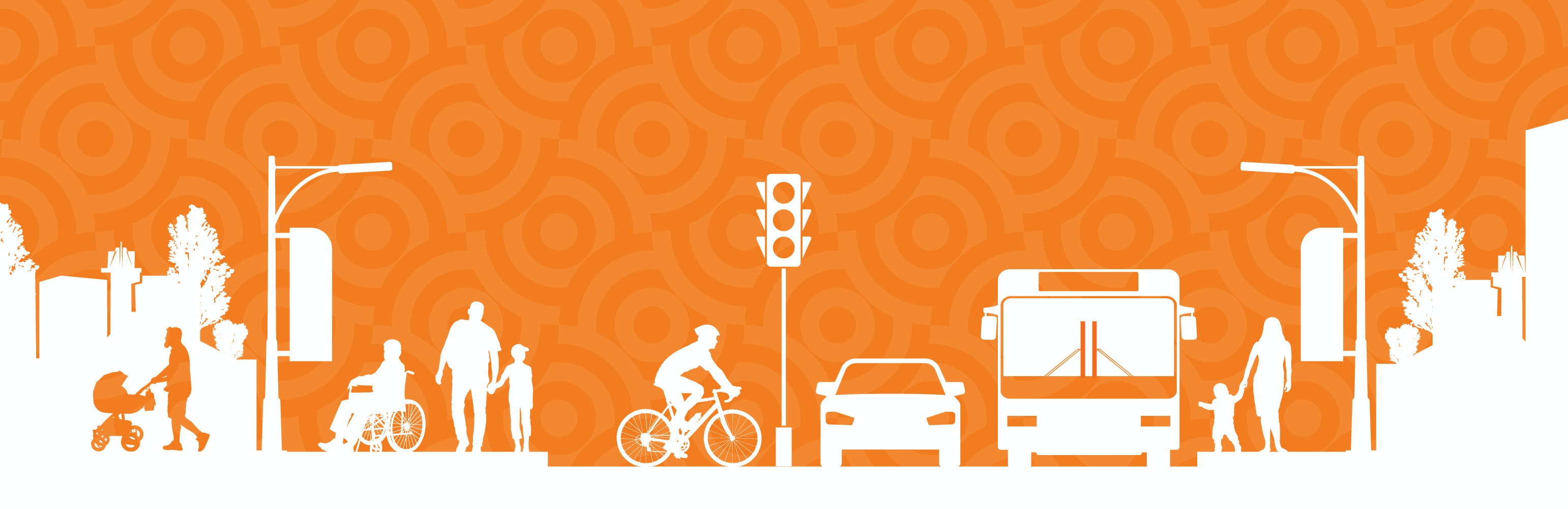This is a graphic illustration of multi-modal mobility in a city.