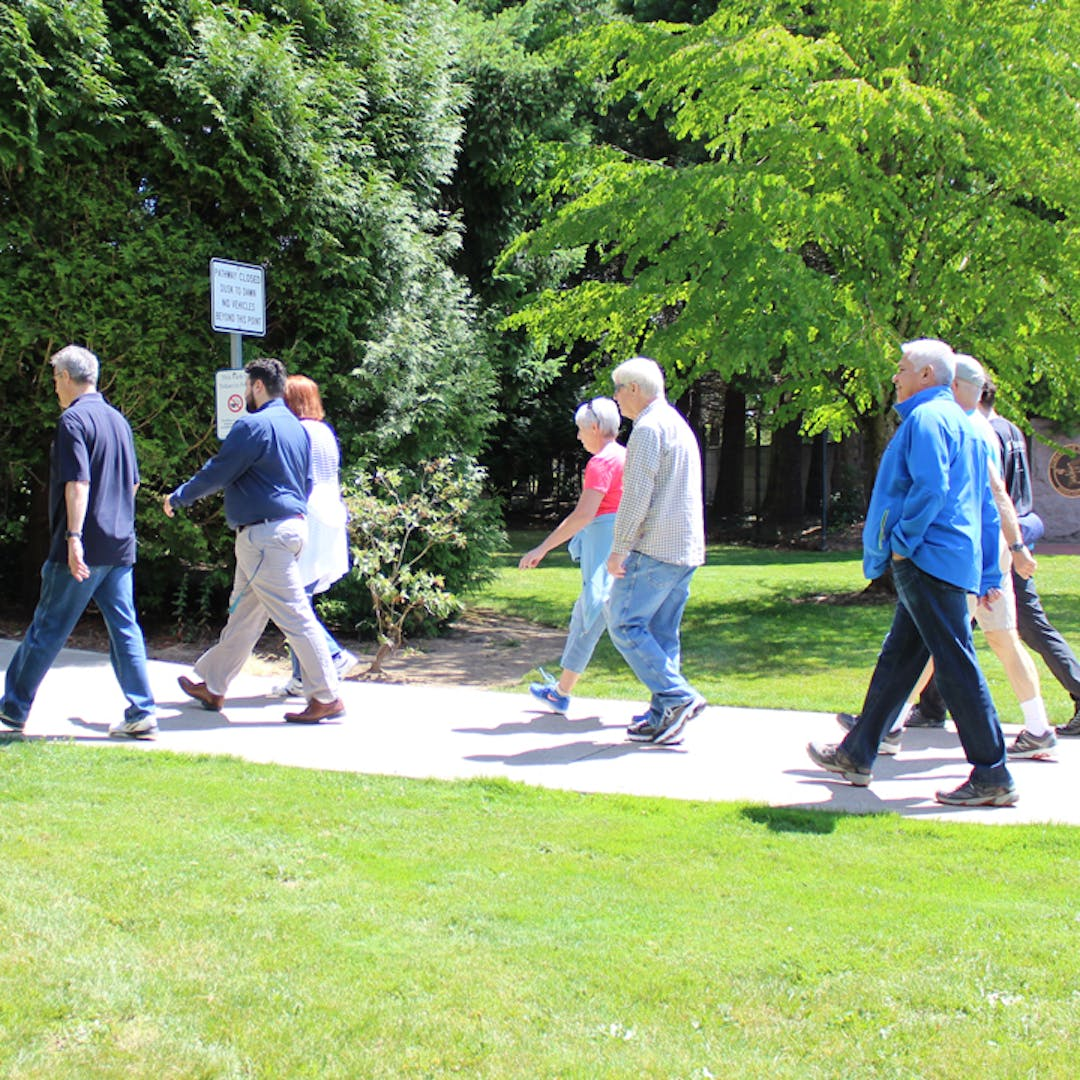 people walking on a path in the summer time