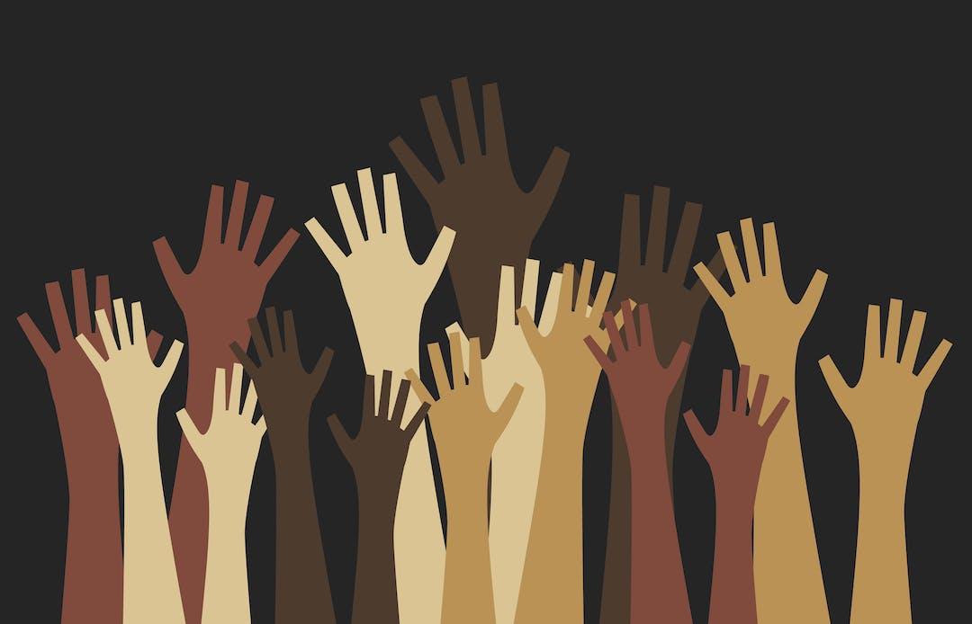 Graphic multi-cultural hands raised toward sky