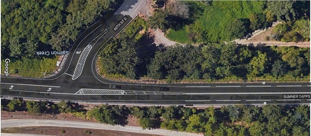 Overhead image of existing Sumner-Tapps Highway with lines overlaid showing new channelization of lanes.