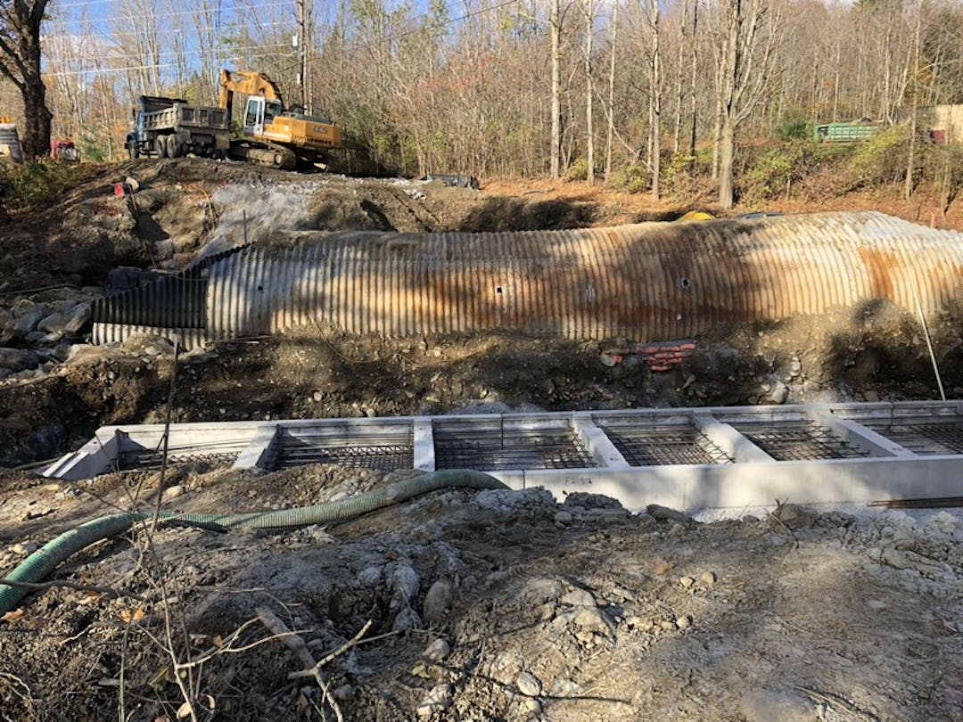 Replacement of the failed metal culvert on Raceway Road is underway.