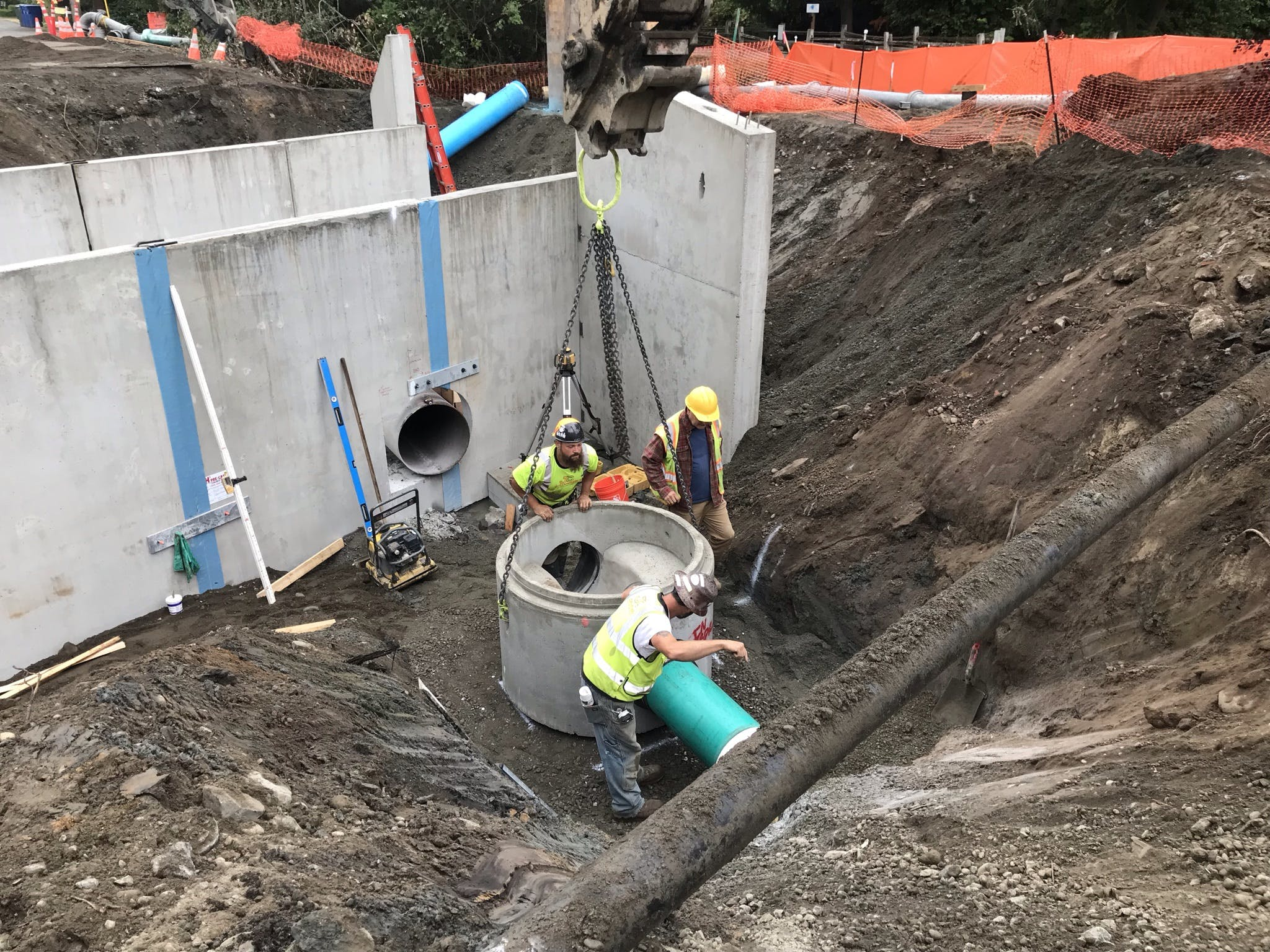 Installing Sewer Manhole (north side of culvert)
