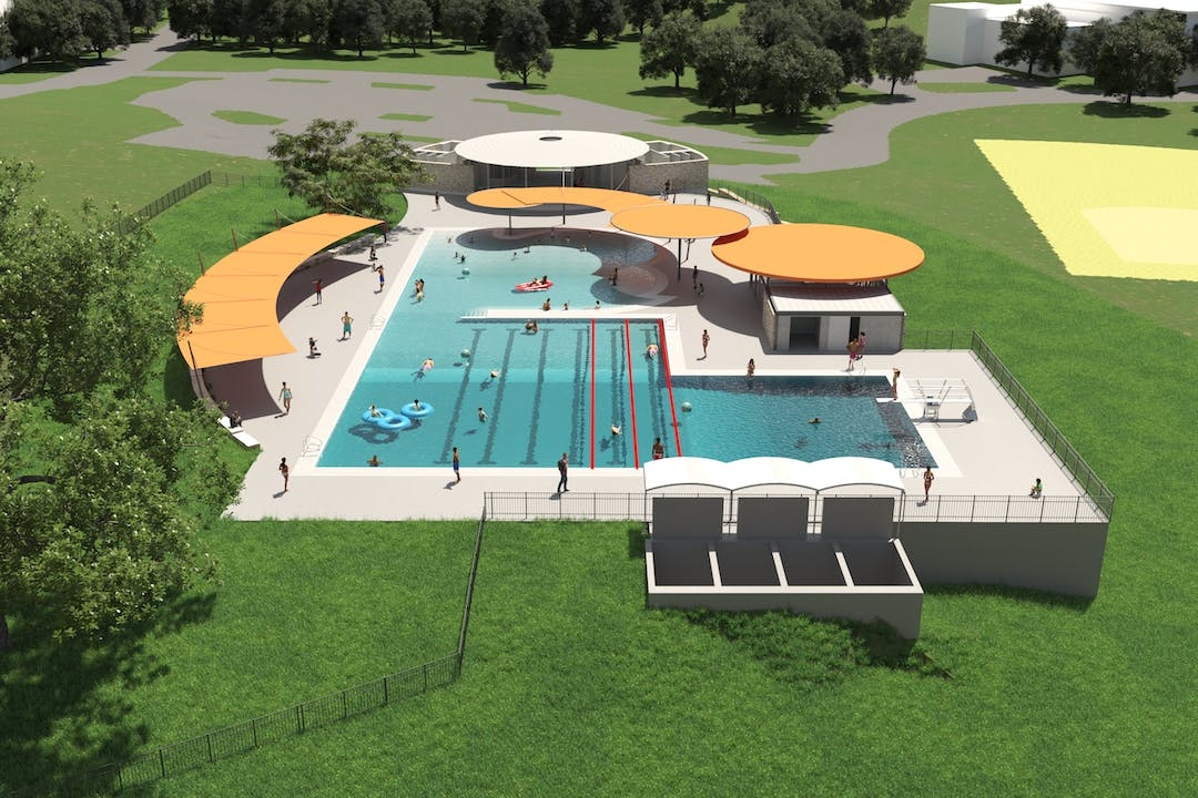 Image of new Givens Pool Concept aerial view