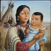 Portrait of a woman holding child to her left side. He is wrapped in blue. She wears a maroon shirt under tan shawl. Hair in ponytail with red, blue, white tie and beaded tassels. Prairie and tepees with two figures in background