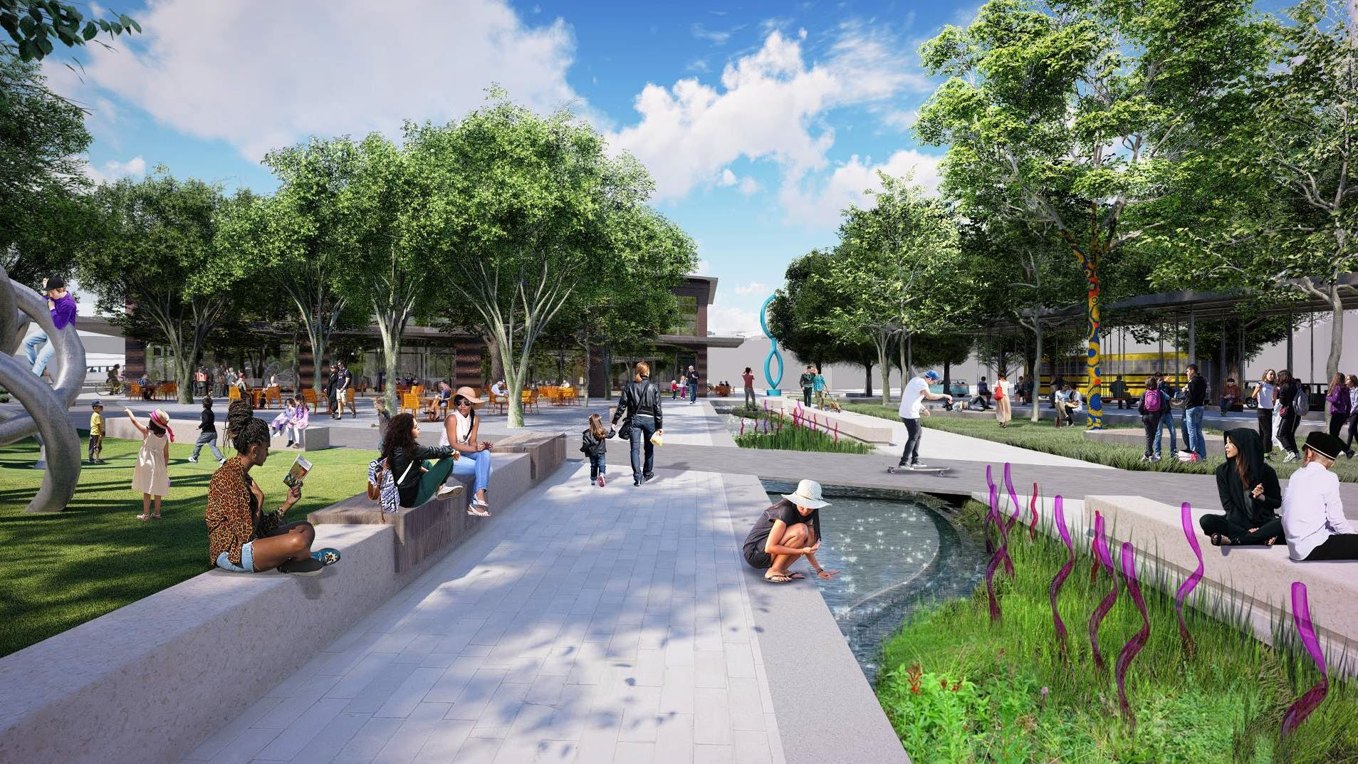 An artist's rendering of a portion of the West Avenue Civic Space; part of the Cultural Arts Corridor.