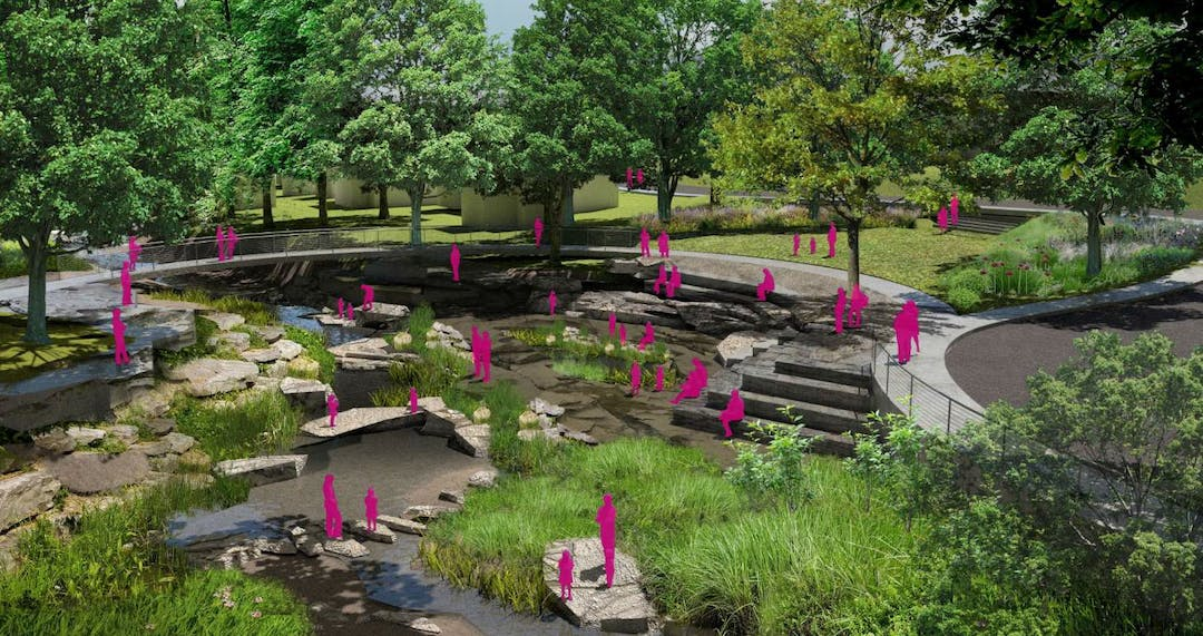 Designers rendering of the interactive feature at Town Branch Creek in Fay Jones Woods
