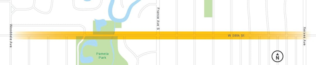 The 58th Street Reconstruction project will be between Wooddale Ave and Xerxes Ave.