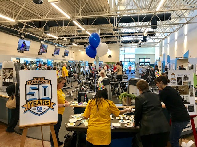 Our first 50th Anniversary Pop-up Party was at the Carmody Recreation Center. You never know where we will pop up. Just be ready for a quick 20-minute celebration – anywhere!