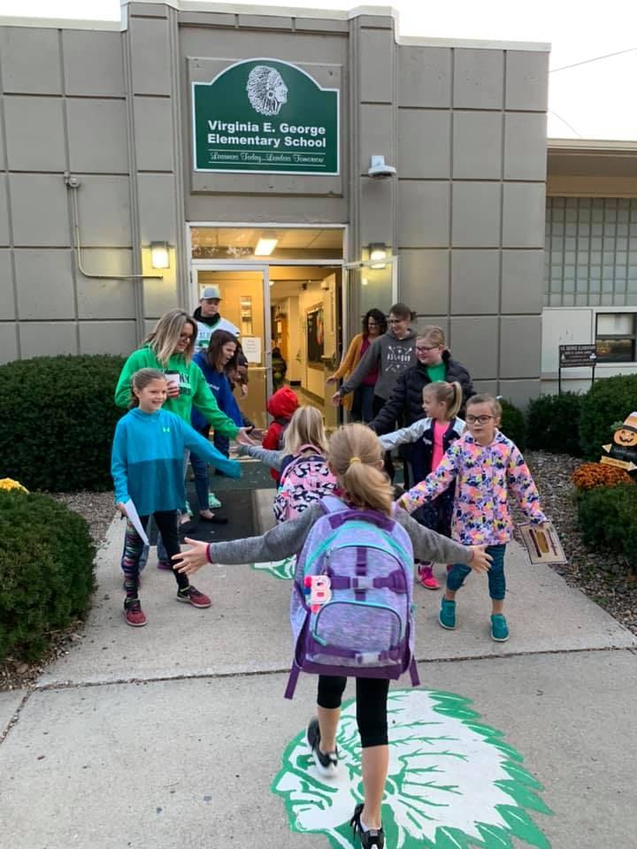 Elementary school high-fives