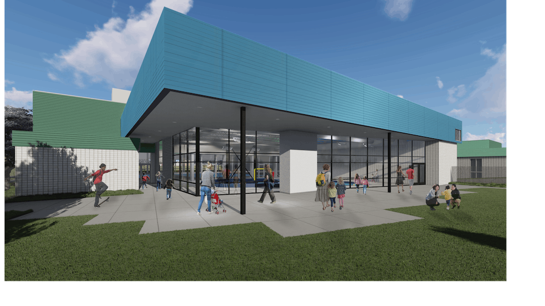 An exterior view rendering of what Sheldon Pool & Fitness Center will look like after renovation.