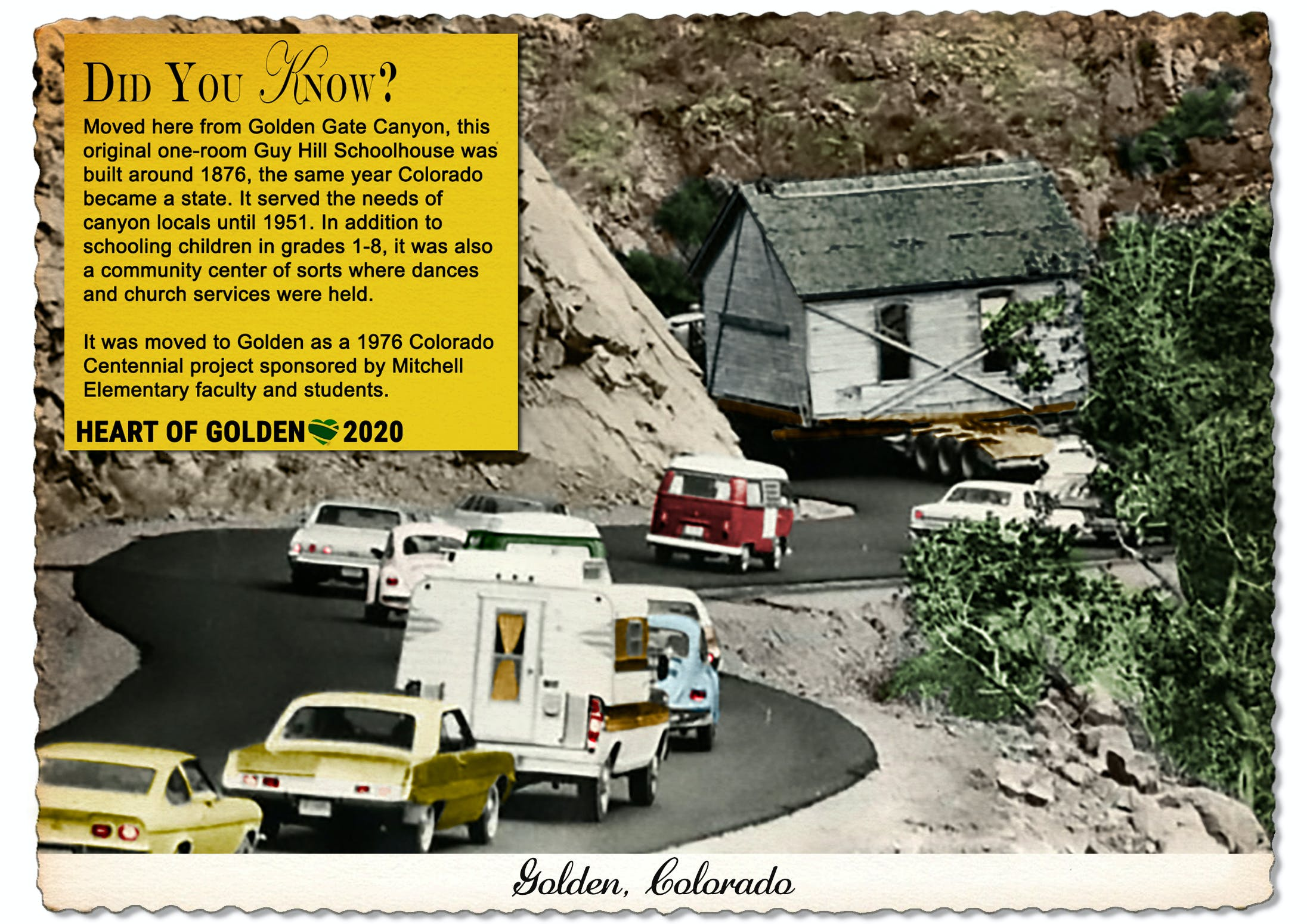 The Guy Hill School House now calls the Golden History Park home, but it was built in Golden Gate Canyon around 1876.