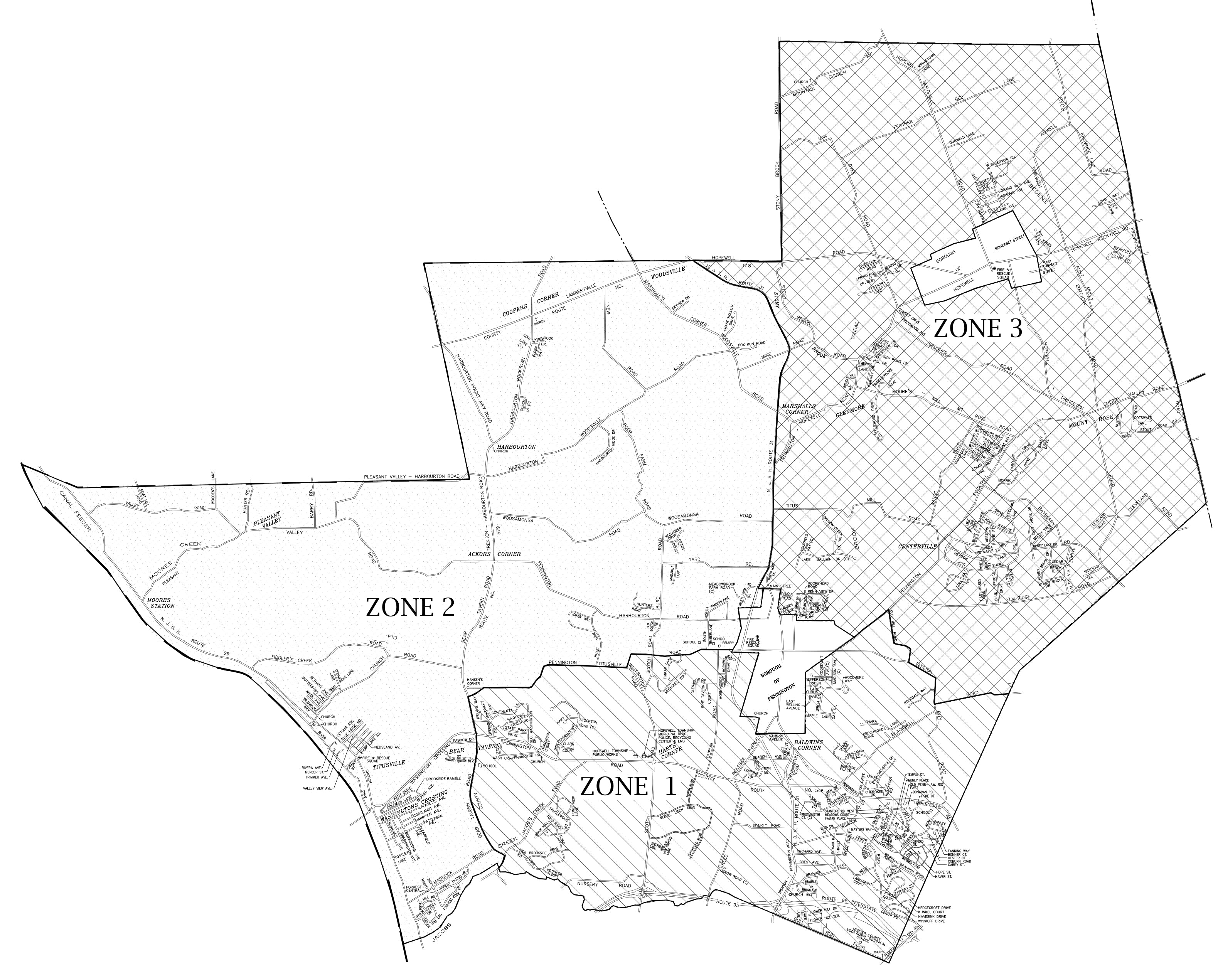 Hopewell Township Bulky Waste and Brush Zone Map