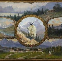 Composite oil painting of five different landscape scenes pertaining to Glacier National Park, with mountain goat in center circular vignette.