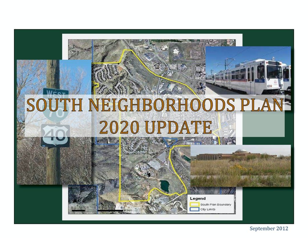 South Neighborhoods Plan 2020 Update document cover with a map of the area and pictures of I70 and the light rail.