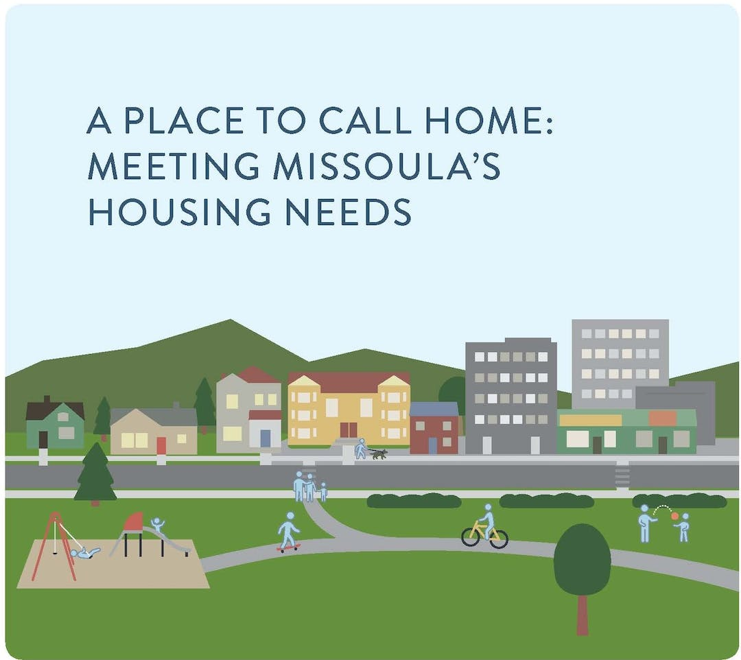 A Place to Call Home housing policy cover art; city scene with parks and playground