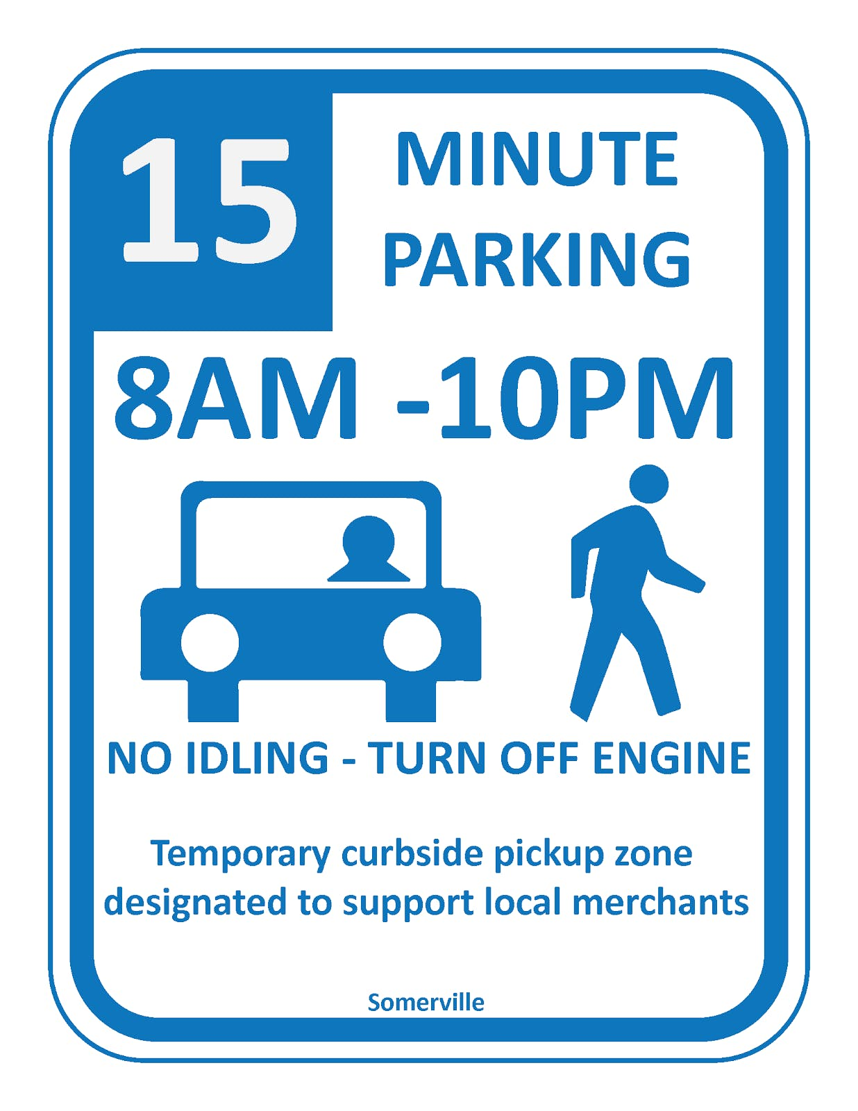 Short-term, pick-up/drop-off parking sign