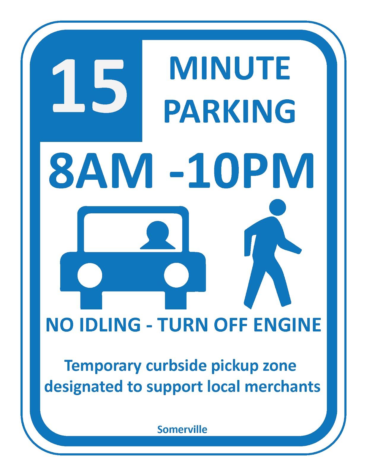 Short-term, pick-up/drop-off parking sign