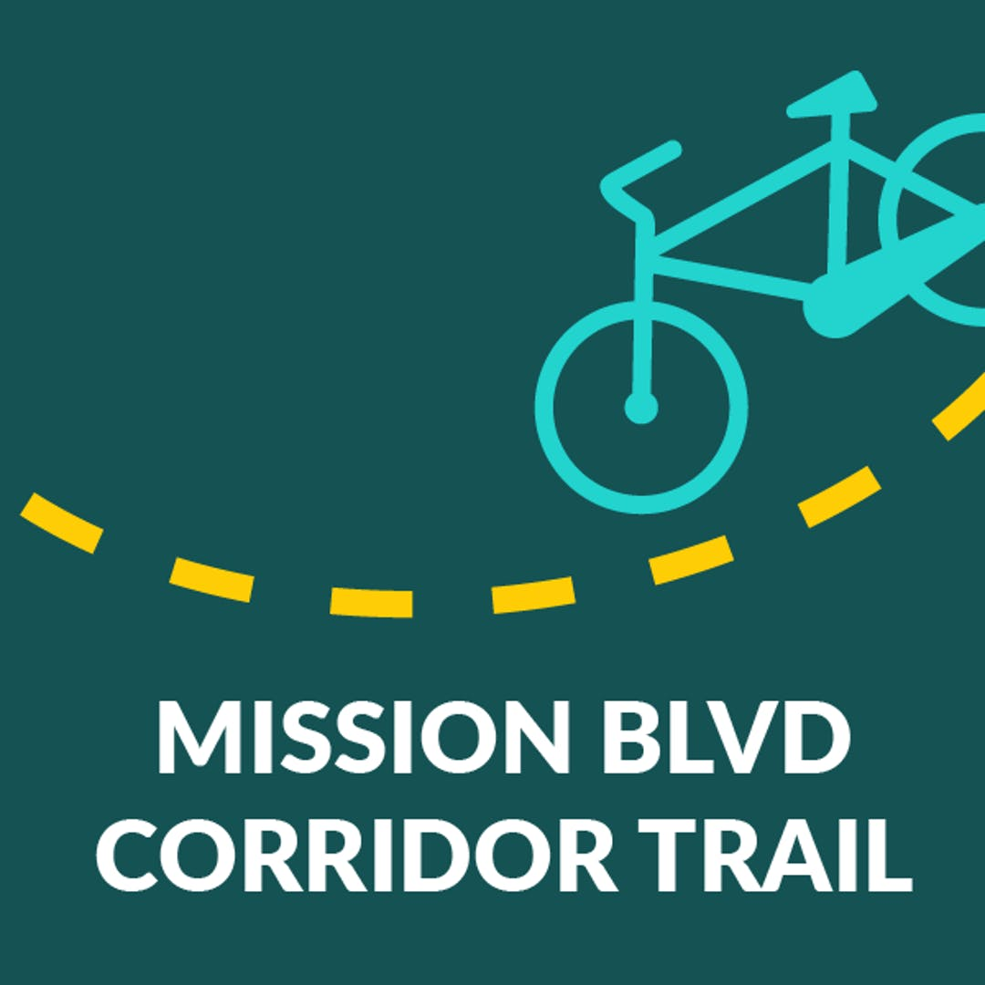 """Image of a teal colored bicycle icon traveling along a yellow dotted line, with copy: """"Mission Blvd. Corridor Trail."""""""