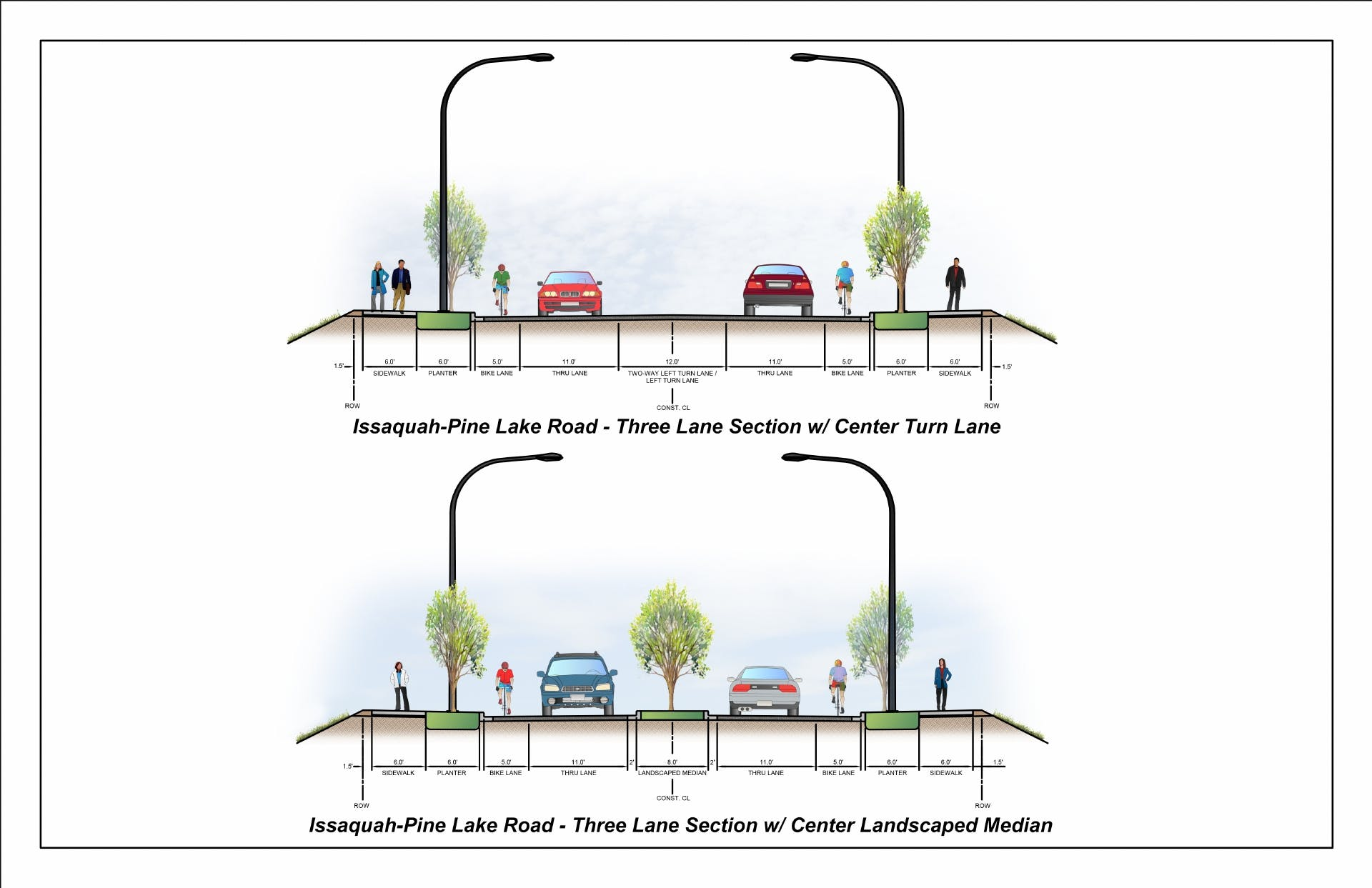 Illustration of two different cross-sections of Issaquah-Pine Lake Road.