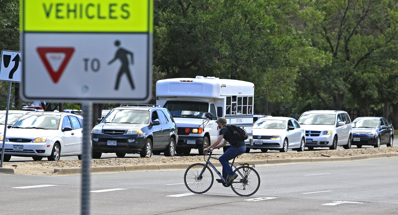 Bicyclist Crossing Union Blvd.