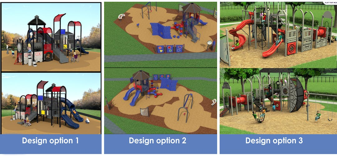 Options for playground design in Washington Park.